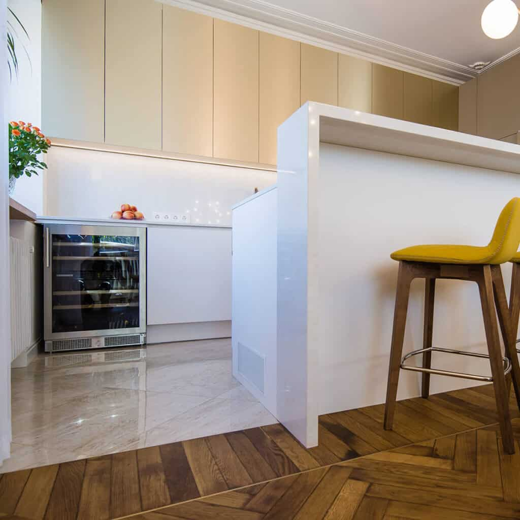 Herringbone flooring kitchen