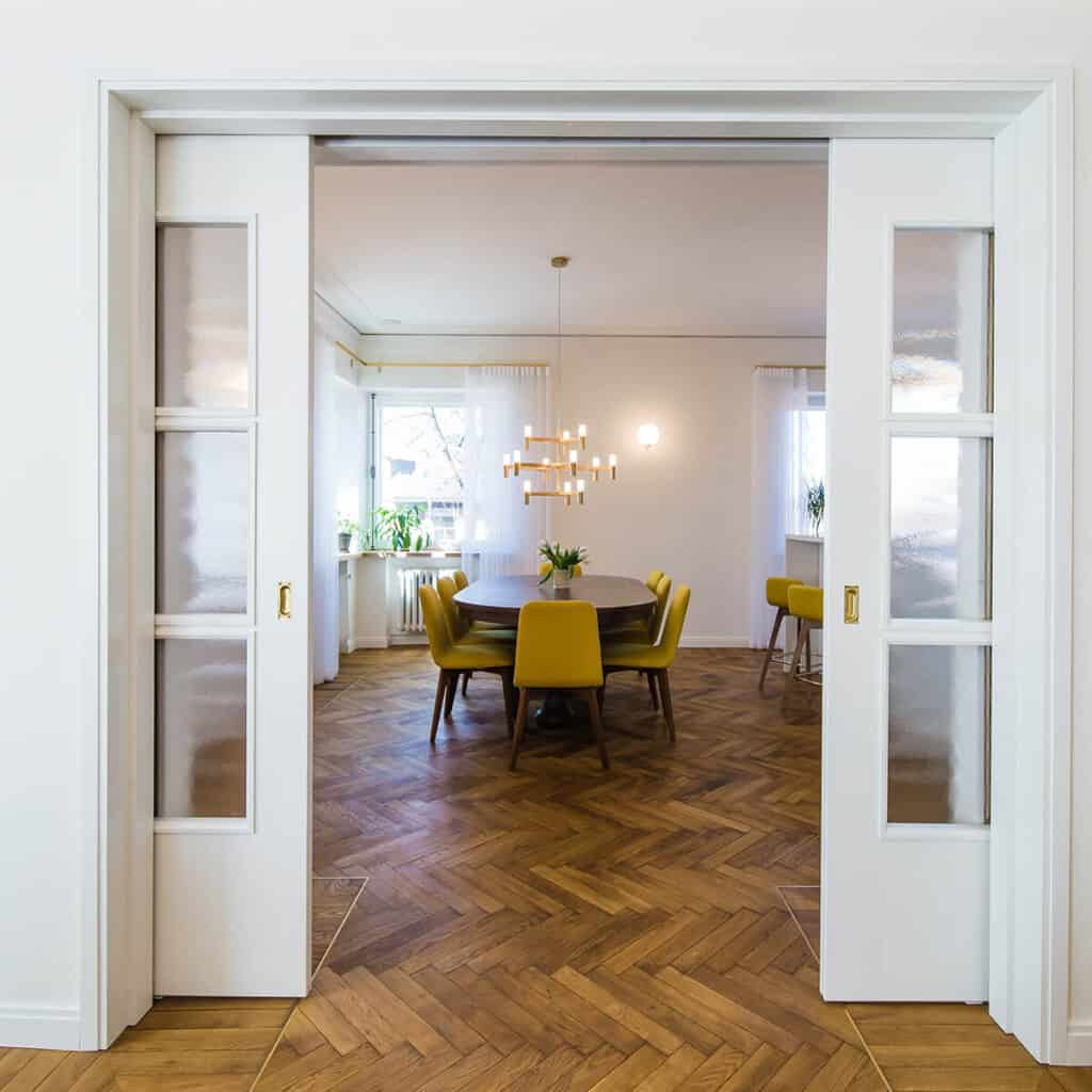 Herringbone flooring dining room