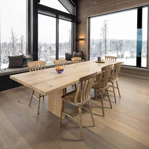 plank wood flooring in a dining room