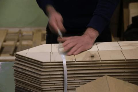 wood flooring being manufactured